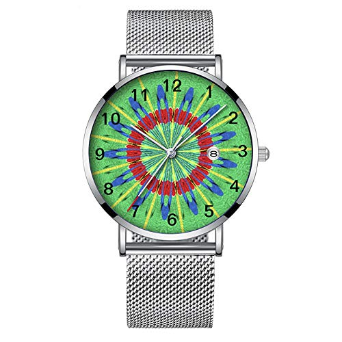 Minimalista Moda Cuarzo Reloj de Pulsera Elite Ultra Delgado Impermeable Reloj Deportivo con Fecha con Banda de Malla 264.Rastrillo Colorido Arte