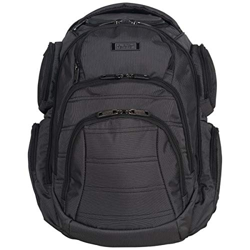 """Kenneth Cole Reaction Pack-of-All-Trades' Multi-Pocket 17.0"""" Laptop & Tablet Business Travel Backpack, Pindot Charcoal, One Size"""