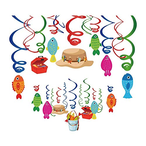 Kodys 30CT Fishing Party Supplies Hanging Swirl Decorations Birthday Party Decorations O-Fish-Ally Party Supplies Little Fisherman First Birthday Camping Theme Kit