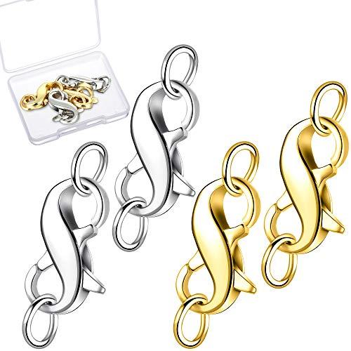 WILLBOND 4 Stück Doppelte Öffnung Verschluss Halskette Verschluss Armband Verschluss mit Ringen für Weihnachten Valentinstag Layered Armband Halskette Schmuck Handwerk (Gold und Silber)