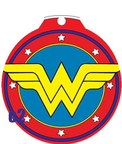 O2 Circle Team JLA Batman Superman Wonder Woman Lantern Comic Art Design Custom Logo Dog Pet Cat ID Tag Round Shape Personalized Key Ring (Wonder1)