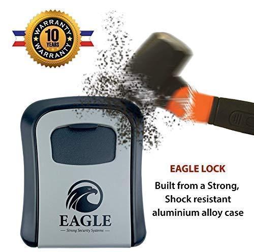 EAGLE LOCK® Schlüsseltresor Schlüsselsafe für die Wandmontage [Groß] , wetterfest, Für Zuhause, Arbeit, Büro, Baustellen,Schlüsselsafe mit zahlencode außen - innen