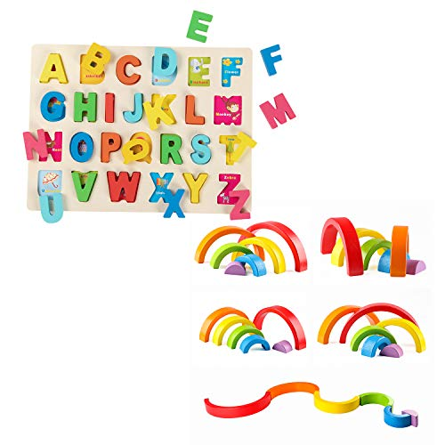 Joqutoys Wooden Alphabet Puzzle Board ABC Puzzle Board and Wooden Rainbow Stacker Toy for Toddlers, Educational Learning Toys for Boys and Girls Gifts