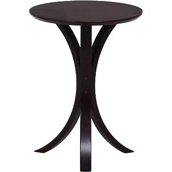 不二貿易 サイドテーブル 丸 幅40cm ダークブラウン 天然木 77662