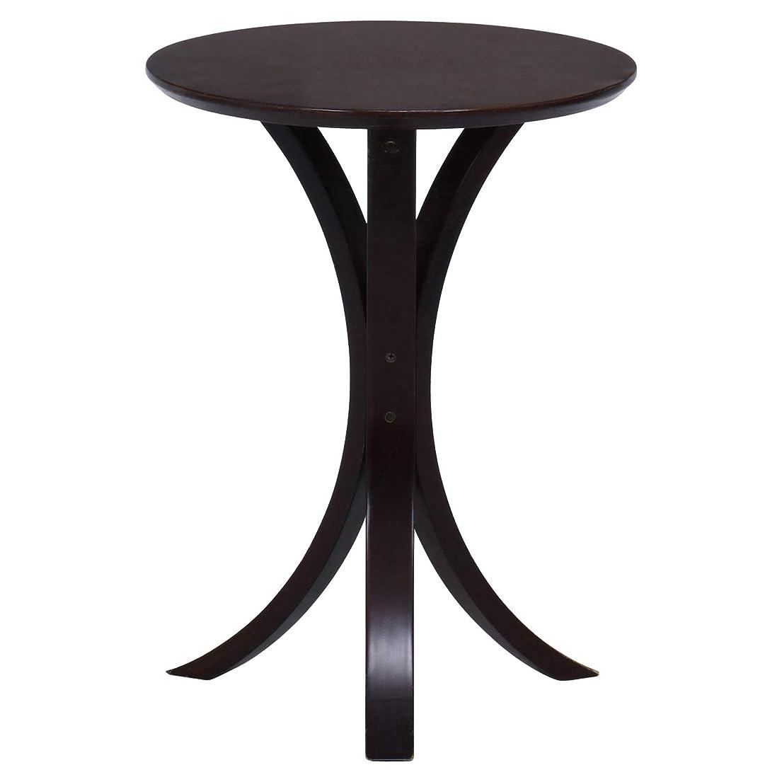 ヒープ最大化するアヒル不二貿易 サイドテーブル 丸 幅40cm ダークブラウン 天然木 77662