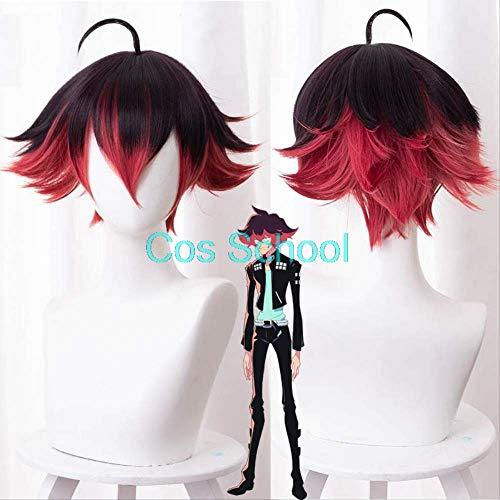 Cos School Anime Promare Cosplay Wigs Gueira Wigs Dark Brown Gradient Dark Red Big Anti-warping Short Hair