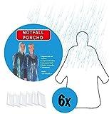 6x Regenponcho im Set durchsichtig transparent | Poncho mit Kapuze | Regencape Einweg Regenumhang...