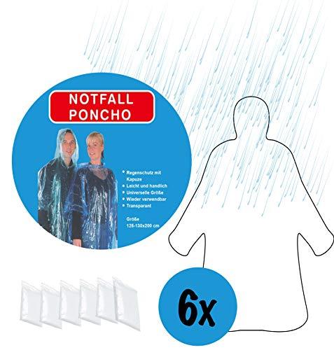 6x regenponcho in set transparant | poncho met capuchon | regencape wegwerp regenhoes regenkleding regenbescherming | ideaal geschikt voor festival outdoor evenementen camping fietsen enz.