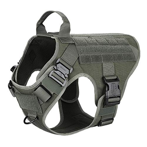 ICEFANG Large Dog Tactical Harness,Military K9 Working Dog Molle Vest,No Pulling Front Clip,Tracking Trailing Clip, Metal Buckle Easy Put On Off (L (28'-35' Girth), RG-2x Metal Buckle)