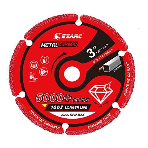EZARC Diamond Cutting Wheel 3 x 3/8 Inch for Metal, Cut Off Wheel with 5000+ Cuts on Rebar, Steel, Iron and INOX