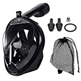 JRing Full Face Snorkel Mask, 180° Panoramic View Safe Breathing System Diving Mask with Adjustable Strips and Action Camera Mount Anti-Fog Anti-Leak Snorkeling Mask Set for Adults and Kids (Black)