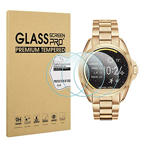 Diruite 3-Pack for Michael Kors Bradshaw Screen Protector, 2.5D 9H Hardness Tempered Glass Screen Protector for Michael Kors MKT5001 Smart Watch