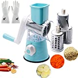 Manual Rotary Cheese Grater Handheld,USGREAT Vegetable Mandoline Slicer Chopper with 3 Drum Blades for Potato Carrot Nuts Grinder Cheese Shredder with Reusable Cleaning Gloves