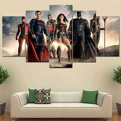 Lienzo Decoración para el hogar Pinturas de Batman Arte de la pared 5 Piezas Liga de la justicia Carteles Sala de estar Hd Impreso Wonder Woman Pictures(size 3)