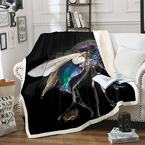 Loussiesd Insect Pattern Decor Throw Blanket Black Background Bed Throws for Kids Teens, Microfiber Polyester Flannel Fleece Blanket Soft Lightweight Bedspread, Baby Size (30 x 40 Inches)