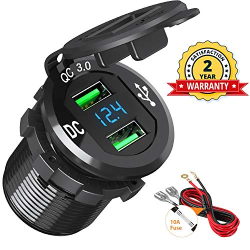 Quick Charge 3.0 Car Charger, BAODANTECH 12V/24V 36W Aluminum Waterproof Dual QC3.0 USB Fast Charger Socket Power Outlet with LED Display for Marine, Boat, Motorcycle, Truck, Golf Cart and More