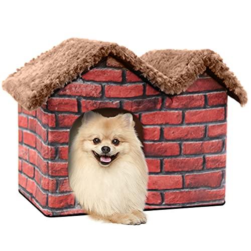 Cama para Perro Gato Medianos: Perros Gatos de Camas Casa Caseta para Pequeños - Lavable Desmontable Tela Pequeño Casetas Camita Casas Interior para Mediano Conejos Conejo Mascotas con Cojin   Rojo