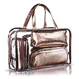 5 en 1 neceser y estuche – Bolsa de aseo portátil para llevar – Bolsa de maquillaje impermeable de PVC transparente, organizador de bolsos para hombres y mujeres, oro rojo