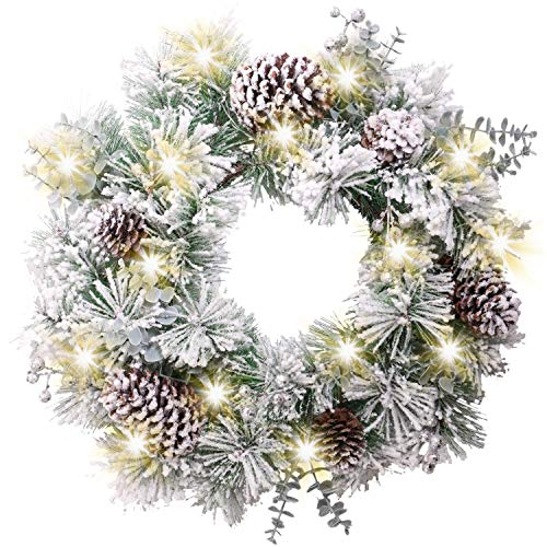 CJFHBVUQ 17.7inch/45cm Pre-Lit Large Christmas Wreath, Silver and White 20 Led Lights, Pinecone and Berries, Decoration For Fireplace Window Frame