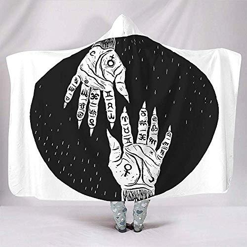 Adivinación en Blanco y Negro Quiromancia Quirología Astrología hindú Imprimir Mantas con Capucha Moda Fleece Day Nap