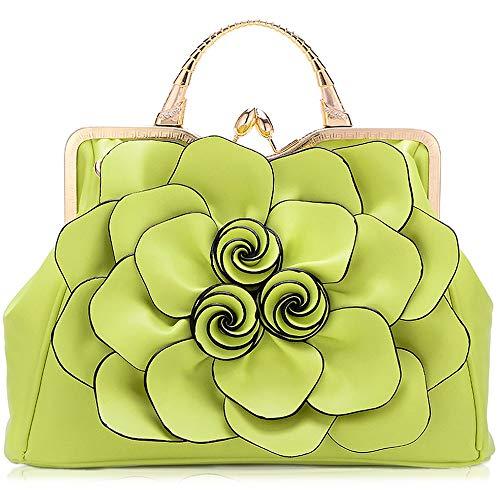 ZYLE Bag Large Capacity Flower Handbags Personality Temperament Wild Shoulder Messenger Bag Evening Bags (Color : Light Green)