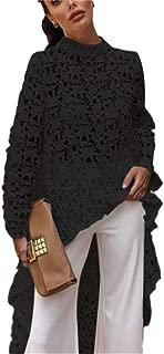Women Lace Hollow Out Long Sleeve Asymmetrical Irregular Hem Casual Tops Blouse Shirt Dress