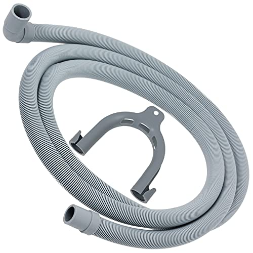 SPARES2GO Manguera de drenaje universal con extremo en ángulo recto para lavadoras (2,5 m, 19 mm/21 mm)