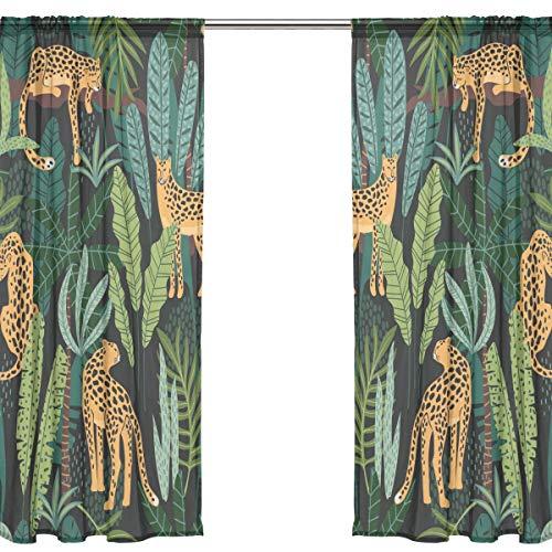 Orediy 2 Panels Voile Sheer Gardine Leopard im Dschungel Blätter Stange Pocket Lange Decke Vorhang Fenster Treatments Schlafzimmer Wohnzimmer Decor 200 x 140 cm, Polyester, multi, 2* 140W x 213 H