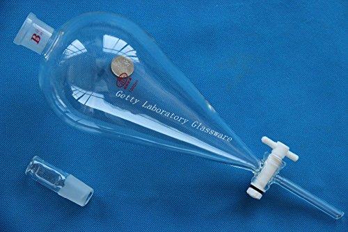 1000ml pyriform Scheidetrichter, Drop Trichter, mit PTFE Absperrhahn, 24/29Gelenk
