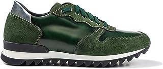 DIS Italo Sneaker Fondo Running in Pelle Scamosciata e Spazzolata Verde