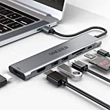Adaptador USB C Hub Dual 4K HDMI, 7 en 1 tipo C estación de acoplamiento, 2 puertos USB 3.0, lector de tarjetas SD/TF, PD, accesorios USB C compatibles con MacBook Pro y más