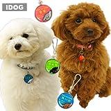 IDOG&ICAT オリジナル ネームタグ 迷子札プードル 白プードル×ブルー S 犬 ネームプレート