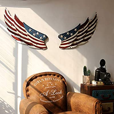 Metal Wall Decor Wall Art Wall Decorations for Living Room,Rustic American Flag Wings Home Decor,large Bedroom Kitchen Wall Sculptures from Shi Mu Crafts