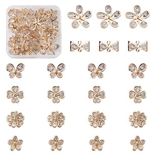 Beadthoven - 24 ciondoli a forma di cabochon con cristalli di zirconia cubica, 6 stili, con fiocco, quadrifoglio e strass, con struttura in metallo per la creazione di gioielli