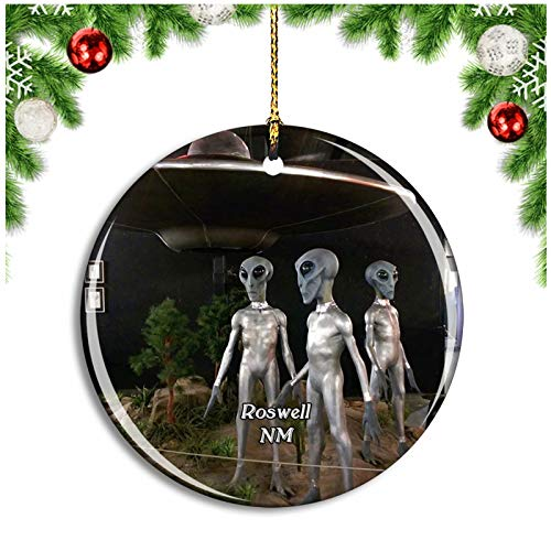 Roswell UFO Museum New Mexico USA Christmas Ornament Xmas Tree Decoration Hanging Pendant Travel Souvenir Collection Double Sided Porcelain 2.85 Inch