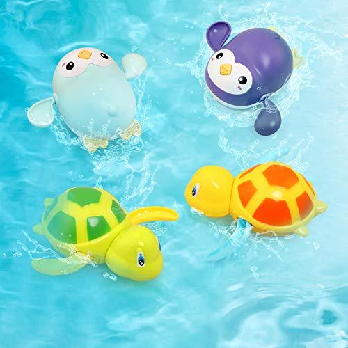BelleStyle Juguete Baño Bebe, Juguete Bebe 1 año, 4 Piezas de Animales Flotantes de Mar, Ideales para el Baño del Bebé, A Partir de 6 Meses, Tortuga, Pingüino, Bebe Juguete de Baño Pulpo Flotante