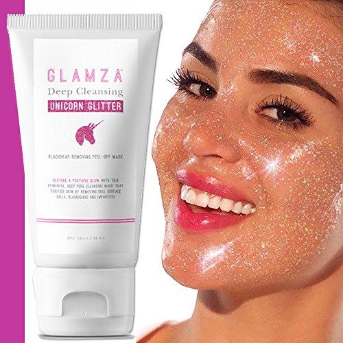 Glamza - maschera peel off ai glitter di unicorno, per una pulizia profonda dei pori e per la rimozione di punti neri, per la cura della pelle