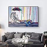 NIMCG Ginkgo Motif Toile de Peinture sur Le Mur Coucher de Soleil Paysage à Feuilles...