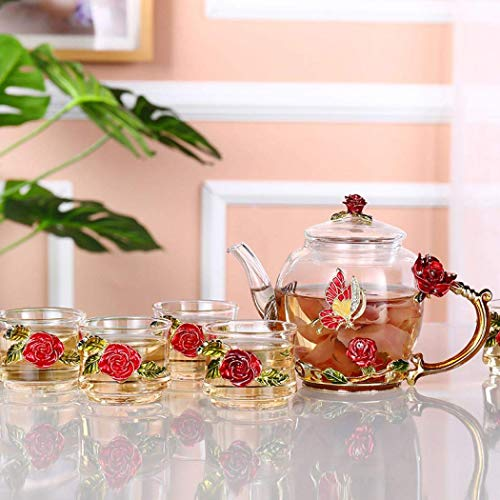 Heat Resistant Glass Teapot,Teapot with 6 Cups with Strainer Teapot Rose Flower Butterfly Decoration for Tea, Juice, 300ML/12OZ (Red)