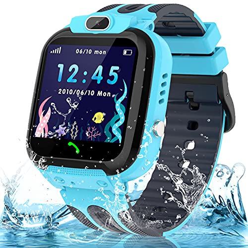 Smart Watch for Kids Boys Girls, IP67 Waterproof Kids Smart Watch with GPS Tracker, 1.54'' HD Touch Screen Call SOS Voice Chat Camera Phone Watches for Kids Age 3-14 (Sky Blue)