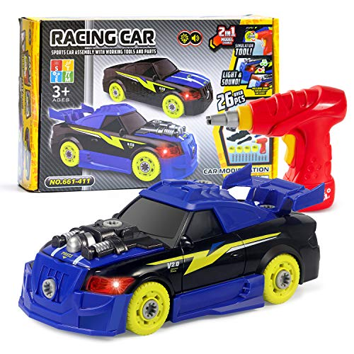 Take Apart Racing Car Toys with Drill Tools, STEM 26 Pieces Racing Car Toy Kit Vehicle Assembly Set with Lights & Engine Sounds, Building Your Own Car Toy Set Gifts for Kids, Boys & Girls