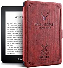 ProElite Deer Smart Flip case Cover for All Amazon Kindle Paperwhite 10th Generation (Deer Wine Red)