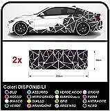 GRAFIC Adesivi fiancate Auto Triangoli Set Completo Camouflage per Auto Car Decal Racing Sticker Decorazione fiancate Sport (Nero Opaco)