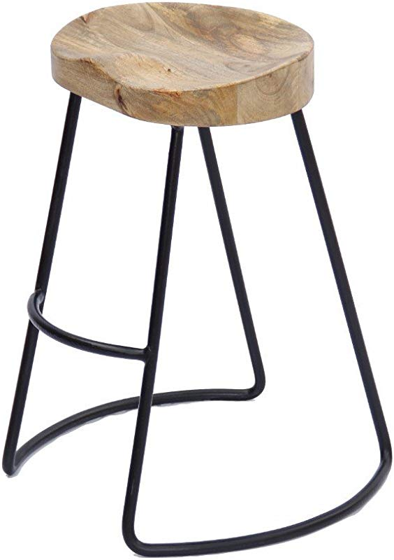 The Urban Port Antique Colonial Attractive Wooden Barstool With Iron Legs Short