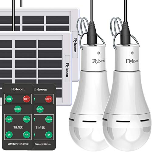Flyhoom 2 Pack Solar Powered Light Bulbs Outdoor Rechargeable, Portable Solar Bulb Light with Remote, 180LM, 4 Light Mode, LED Tent Light Bulb for Camping, Hiking, Emergency, Power Outage, Hurricane