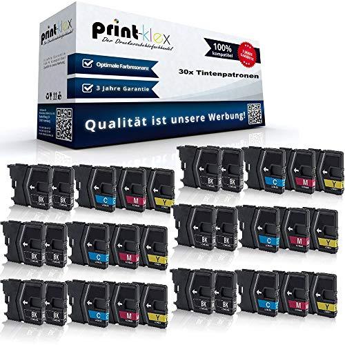 30x Print-Klex kompatible Patronen für Brother MFCJ 270 W MFCJ 280 W MFCJ 410 MFCJ 410 Series MFCJ 415 W LC-985 LC985 XXL LC-985BK LC-985C LC-985M LC-985Y 12x Black 6x Cyan 6x Magenta 6x Yellow Office