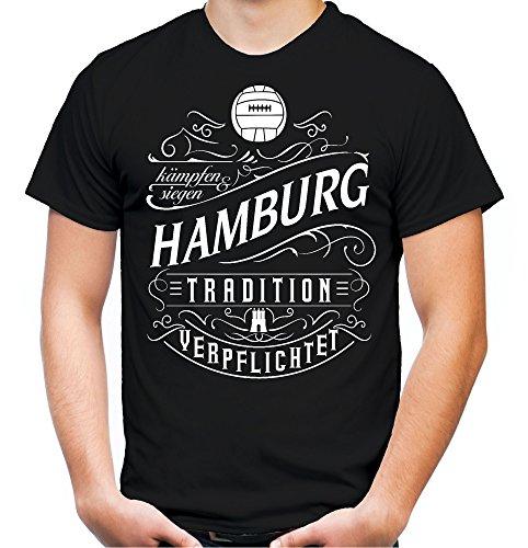 Mein Leben Hamburg Männer und Herren T-Shirt | Fussball Ultras Geschenk | M1 Front (XXXL, Schwarz)