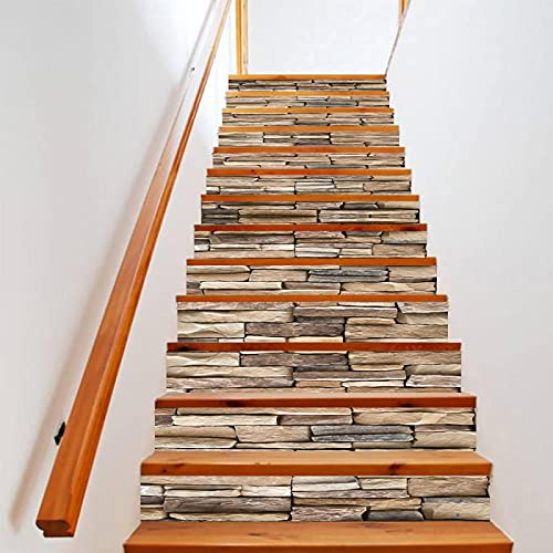 tzxdbh vinilos escaleras Gris piedra ladrillo 100CMx18CMx6pieces(39.3'w x 7'h x 6pieces) Impermeable Etiqueta de la pared extraíble Pegatinas Adhesivos Autoadhesivos Dormitorio del Hogar