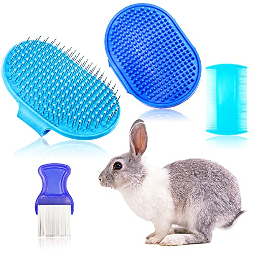 YOLUFER 4 Pieces Rabbit Grooming Kit Including Rabbit Hair Remover, Rabbit Grooming Brush, Pet Bath...