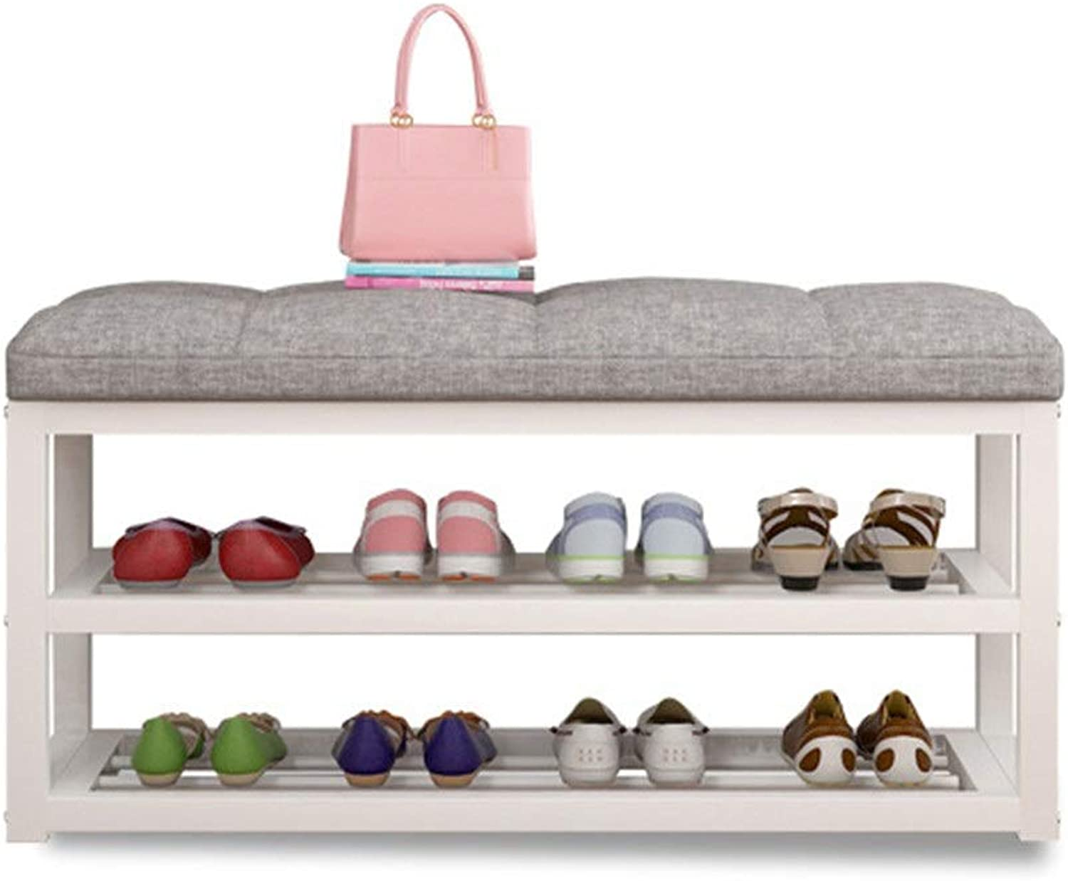 shoesStorage Shelf shoes Organizer Hallway shoes Storage Bench Organizer Metal shoes Rack shoes Bench with Fabric Seat Cushion (color   White, Size   60x30x50cm)